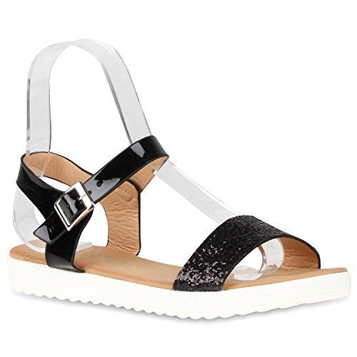 Damen Komfort-Sandalen Metallic Sandale Bequemschuh Profilsohle Schwarz Schnalle Lack