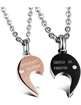 Jewow Schmuck Edelstahl Verliebte Paar Halskette Gebrochenes Herz Anhänger Geschenk für Sie und Ihn
