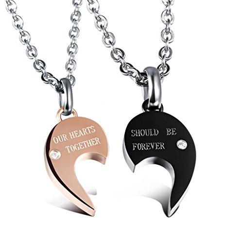 *Jewow Schmuck Edelstahl Verliebte Paar Halskette Gebrochenes Herz Anhänger Geschenk für Sie und Ihn*