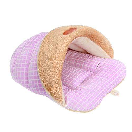 Joyfeel buy - Saco de Dormir cálido para Gatos, Gatos, Camas y Mantas, Hermosa Cama para Animales, Pantuflas Kennel/Cueva para Gatos/casa para Gatos, Rosa - S