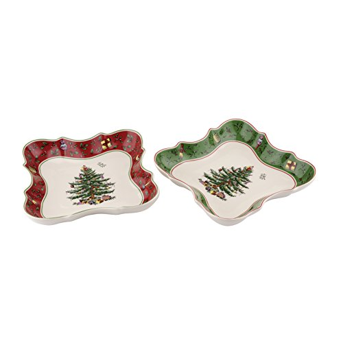 Spode Christmas Tree Vintage Devonian Dishes, Set of 2 by Spode 2 Spode Christmas Tree