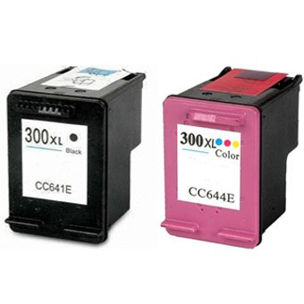 2 ALTA CAPACITA 'rigenerate cartucce d'inchiostro HP 300XL Black (CC641EE) + a colori HP 300XL (CC644EE)