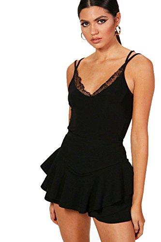 Schwarz Damen Tall Maisie Lace Trim Slinky Cami Bodysuit - 10 (Metallic Lace Cami)