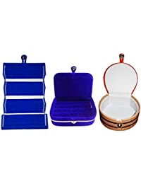 Afrose Combo 1 Pc Blue Earring Folder 1 Blue Ear Ring Box And 1 Pc Bangle Box Jewelry Vanity Case