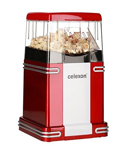 celexon CinePop CP250 Popcornmaschine rot im Retrolook | Komplett zerlegbar & einfach zu reinigen | Keine Zugabe von Öl - Popcorn Maker für fettarmes Popcorn
