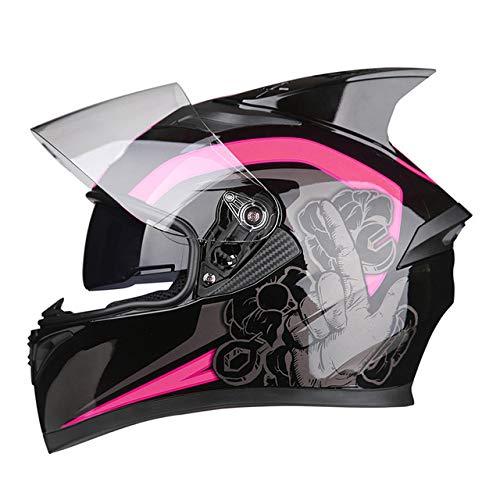 Berrd Casco moto Flip Motocross Casco moto Casco integrale Moto con visiera parasole interna modulare nera R1-607-D1 XL
