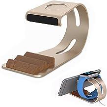 Thanly 2in 1universale da supporto per Apple iWatch supporto di ricarica dock station supporto per Apple Watch 38mm e 42mm | Tavolo di supporto in alluminio per tablet cellulare smartphones etc