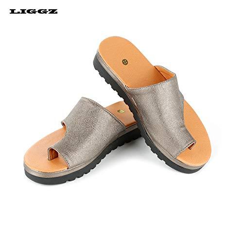 b81f6ec07a3 LIGGZ Zapatos ortopédicos Femeninos Ocasionales de Cuero de PU Suave  Sandalias de corrección del.