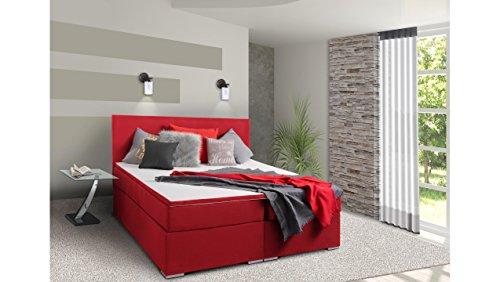 JUSTyou Mefis Boxspringbett Continentalbett Doppelbett Strukturstoff (HxBxT): 126x160x200 cm Rot