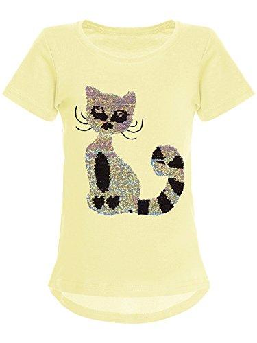 BEZLIT Mädchen Wende-Pailletten T-Shirt Katzen-Motiv Kurz-Arm 22590, Farbe:Gelb, - Teenager Günstige T-shirts