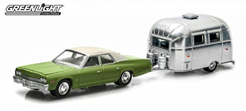 1974 Dodge Monaco Green & Airstream Trailer Bambi 16' Hitch & Tow Series 2 1/64 by Greenlight 32020A by Greenlight