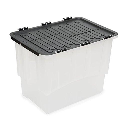 XL Kunststoffbox in Transparent mit Faltdeckel in Anthrazit. Mit 60 Liter Füllvolumen. Maße BxTxH: 57 x 40 x 44 cm.