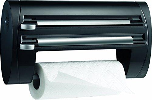 emsa folienschneider Emsa 509247 3-fach-Schneidabroller für Folie und Küchenrolle, Extralange Rollen, Schwarz, Superline