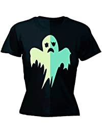 glow in the dark 123t Women's GLOW IN THE DARK GHOST - FITTED T-SHIRT