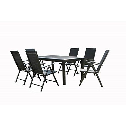 Ensemble Table de jardin en Aluminium Gris anthracite avec rallonge plateau en verre Noir + 6 Fauteuils en textilène Noir DENIA - L 240 x l 100 x H 75