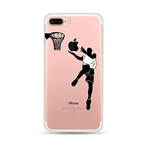 Basketball-telefon (CrazyLemon Kreativ Hülle für iPhone 7 Plus iPhone 8 Plus, Transparent Klar Weich Silikon Handyhülle Durchsichtig Niedlich Basketball Spielen Muster Schutzhülle für iPhone 7 Plus / 8 Plus - Pattern 01)
