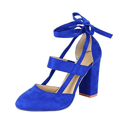 Preisvergleich Produktbild Btruely Sandalen Damen Sommer Schuhe Bohemia Sandalen Knöchelriemen Sandalette mit Absatz High Heels Sandalen Outdoor Schuhe Strandschuhe Mode Schuhe Roman Hausschuhe Bequeme Schuhe (39,  Blau)