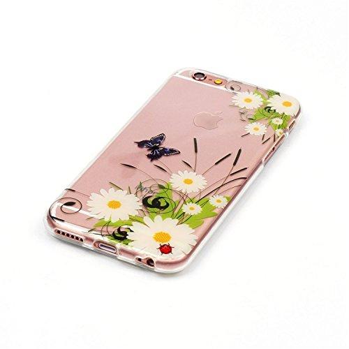 iPhone 6 Crystal Case Durchsichtig TPU Totenkopf mit Rosen Hülle – Case Optik Schutzhülle Abstrakt Transparent Muster Design – MOVOJA – Totenkopf-Rosen-schwarz Gänseblümchen