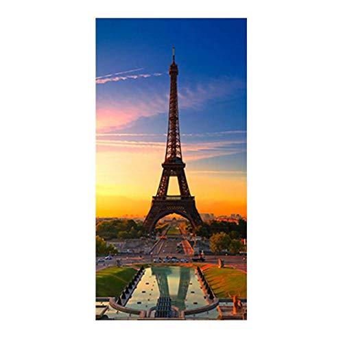 ZHANGFBH Leinwand Gemälde Aquarell Turm Sonnenuntergang Landschaft Poster Und Drucke Stadtbild Leinwand Kunst Wandbild Für Wohnzimmer -