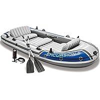 Intex - Barca inflable para 5 personas (incluye bomba de inflar y palas de aluminio, 366 x 168 x 43 cm), color gris y azul