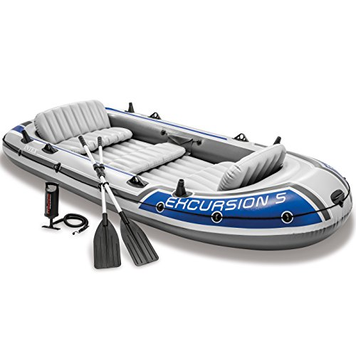 Intex Excursion Inflatable Boat Set Aluminum Oars High Output 4 4-Person Latest Model Outdoor recreation product