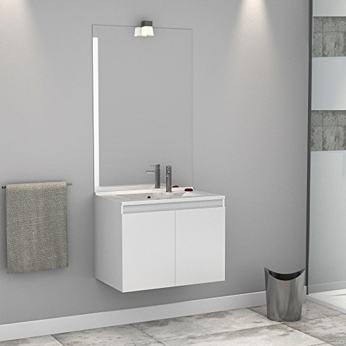 Meuble salle de bain simple vasque PROLINE 80 - Blanc brillant