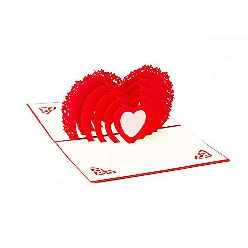 Biglietto di auguri pop-up con cuore rosso - san valentino fidanzamento i love you