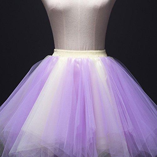 Feoya Donna Retro Annata di 50 Anno Tutu Gonna Bubble Gonna Balletto di Danza Principessa Sottogonna Mini Tutu per il Partito di Prom Tulle multicolore 19