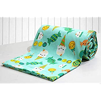 AURAVE Kids Funky Green Candy Print 1 Piece Cotton Duvet Cover/Quilt Cover/Blanket Cover, Single Bed (with Zipper)