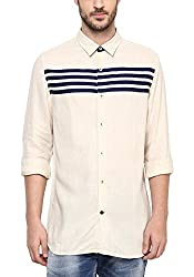 Spykar Mens Solid Slim Fit Casual Shirt (MSH-01AG-MB-224_Beige_X-Large)