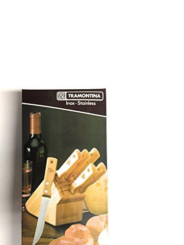 Tramontina Ceppo + 6 coltelli Lama SEGHETTATA, Punta Appuntita Bistecca, Manico di Legno, Steak M-270