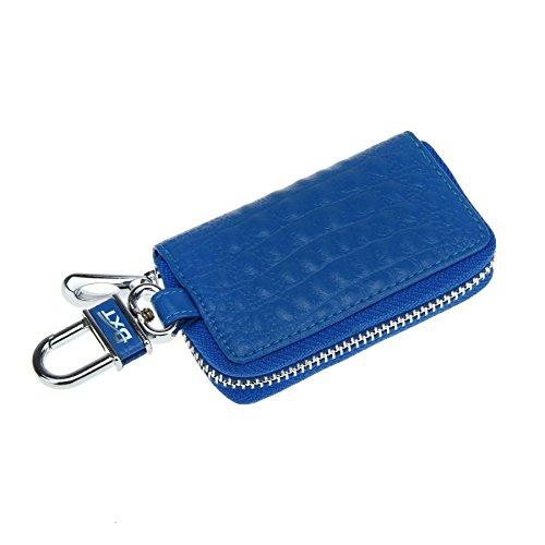 Schlüsseltasche Autoschlüsseltasche Schlüsseletui mit Kroko Design Handarbeit Schlüsselmäppchen Schlüsselbörse Car Key Case Brieftasche für Damen Herren Blau