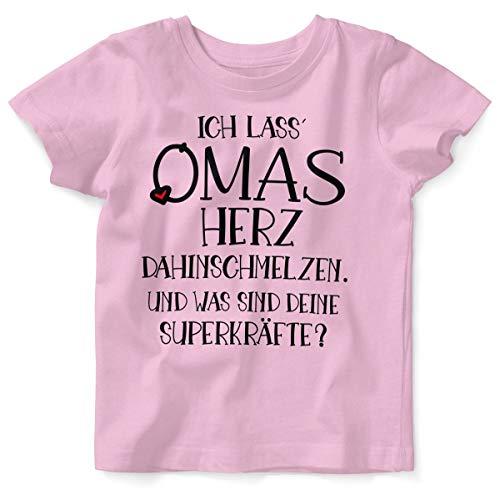 Mikalino Baby/Kinder T-Shirt mit Spruch für Jungen Mädchen Unisex Kurzarm Ich Lass Omas Herz dahinschmelzen. | handbedruckt in Deutschland | Handmade with Love, Farbe:rosa, Grösse:92/98