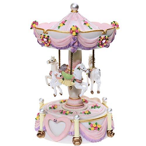 ZJ- à musique Happiness Angel Carousel Music Box Boîte à Musique, Cadeau d'anniversaire de Noël (Couleur : Pink)