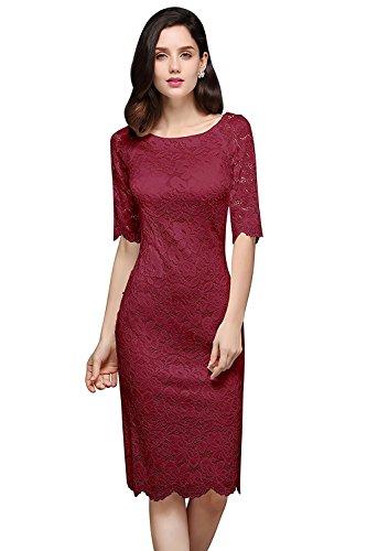 MisShow Damen Spitzenkleid Abendkleid Cocktail Damenkleid apart Weinrot Gr.46