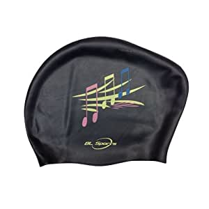 Vktech 10pcs Silicone Waterproof Swimming Cap (Black with Note Pattern)