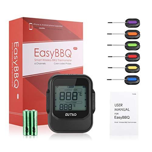 OUTAD Essen Kochen Bluetooth Wireless BBQ Thermometer mit sechs Sonden und Timer für Ofen Fleischgrill Kostenlose App-Steuerung