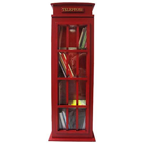 Vetrina/vetrina da parete in stile vintage, cabina telefonica inglese, con porta in vetro e illuminazione - colore rosso
