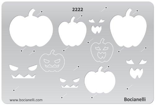 15cm x 10cm Zeichenschablone aus Transparentem Kunststoff für Grafik Design Kunst Handwerk Technisches Zeichnen Schmuckherstellung Schmuck Machen - Halloween Kürbis Kopfmaske Symbole