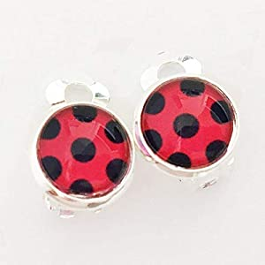 Ladybug Ohrclips Ohrringe 10mm Motiv Marienkäfer rot schwarz Ohrklemme Clips miracoulus clip-on earrings Punkte Mädchen Kinder Party Outfit silber hypoallergen