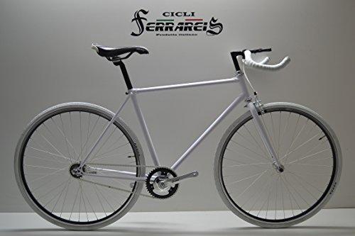 Cicli Ferrareis Fixed Bike 28 SCATTOFISSO Vintage Single Speed Bici Bicicletta Bianca Personalizzabile