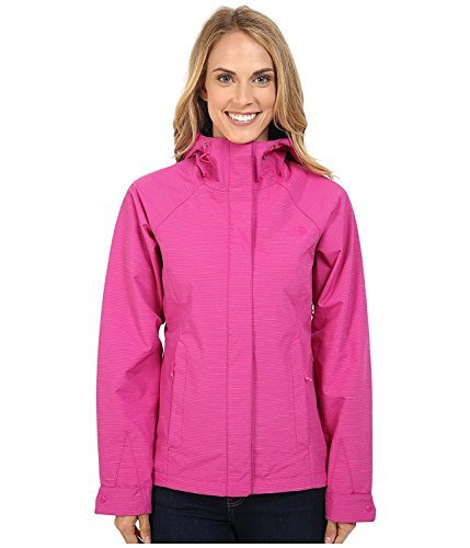 The North Face Women's Novelty Venture Hooded Rain Jacket Fuschia Pink Stripe (X-Large) (Rain Jacket Venture)