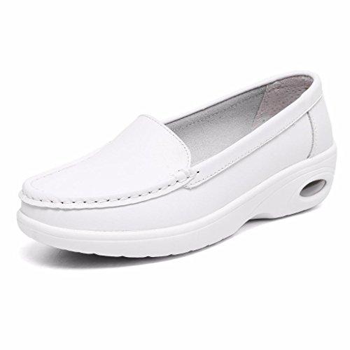 Moonwalker Zapatos Sanitarios Confort Mujer Sin Cordones en Cuero ( EUR 39,Blanco2)