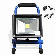 mctech® 30W blanc froid Bleu Portable Rechargeable Lampe baladeuse Chantier à LED Phare de travail Lampe camping pêche Éclairage extérieur Lanterne Camping Lanterne Atelier Projecteur IP65(30W, blanc froid)