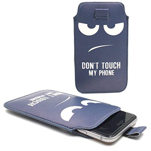 Handy Hülle Slide Tasche Etui Case Schutzhülle Bumper Cover Sleeve Universal Neu, Motive:Dont Touch My Phone Blau, Handymodell:Gionee Ctrl V5