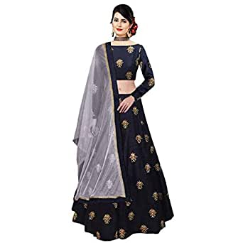 Arvicreation Creation Women's Silk Lehenga Choli (Blue,Free Size, Semi-Stitched)
