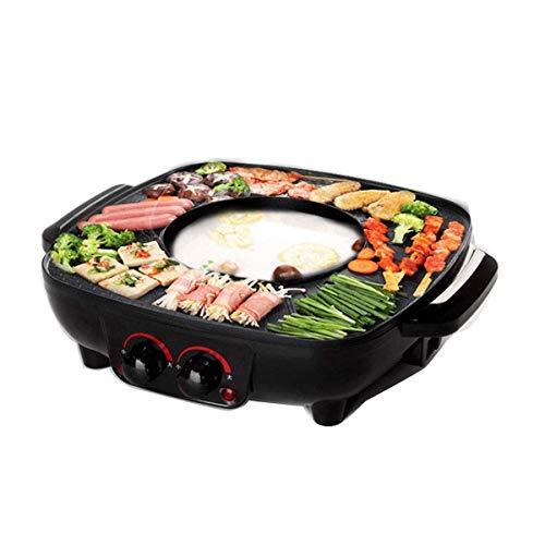 Falehgf Gril et marmite Double Casserole, marmite intégrée, Assiette pour grillades de 40,5 cm, Barbecue électrique et Fondue Asiatique 1700 W, Noir