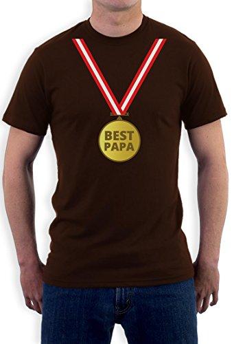 Präsent T-Shirt mit Gold Medaille - Bester Papa mit Auszeichnung T-Shirt Braun