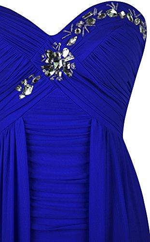 Angel-fashions Femme Plisse grillages High Low Perle Robes de cocktail Bleu royal