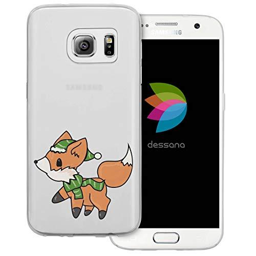 dessana Comic Füchse Transparente Schutzhülle Handy Case Cover Tasche für Samsung Galaxy S7 Fuchs im Winter